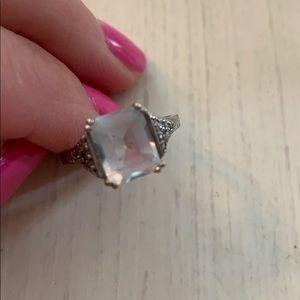 10 K white gold aquamarine ring w/ diamond accent
